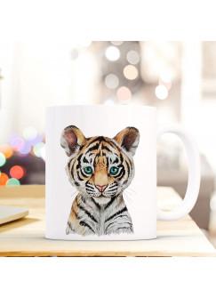 Tasse Becher mit Tiger Raubkatze Geschenk mit Tiermotiv Kaffeetasse Tigertasse Kaffeebecher ts746