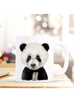 Tasse Becher mit Panda Geschenk mit Tiermotiv Kaffeetasse Pandatasse Kaffeebecher ts747