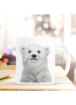 Tasse Becher mit Eisbär Polarbär Geschenk mit Tiermotiv Kaffeetasse Eisbärtasse Kaffeebecher ts748