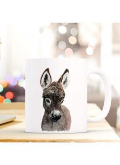 Tasse Becher mit Esel Geschenk mit Tiermotiv Kaffeetasse Eseltasse Kaffeebecher ts749