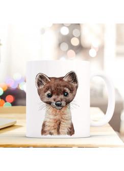 Tasse Becher mit Marder Geschenk mit Tiermotiv Kaffeetasse Mardertasse Kaffeebecher ts750