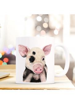 Tasse Becher mit Schweinchen Schwein Geschenk mit Tiermotiv Kaffeetasse Schweinchentasse Kaffeebecher ts751