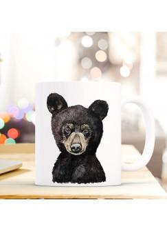 Tasse Becher mit Bärchen Braunbär Geschenk mit Tiermotiv Bären Junges Kaffeetasse Bärchentasse Kaffeebecher ts752