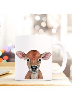 Tasse Becher mit Kalb Kälbchen Geschenk mit Tiermotiv Kuh Baby Kaffeetasse Kälbchentasse Kaffeebecher ts753
