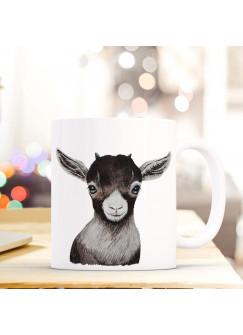 Tasse Becher mit Zicklein Geschenk mit Tiermotiv Kaffeetasse Zickleintasse Kaffeebecher ts754