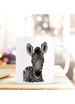 Tasse Becher mit Zebra Fohlen Geschenk mit Tiermotiv Kaffeetasse Zebratasse Kaffeebecher ts757