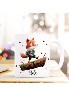 Tasse Becher mit Fuchs & Schulranzen Geschenk mit Tiermotiv Kaffeetasse Fuchstasse mit Namen Wunschnamen Kaffeebecher ts771
