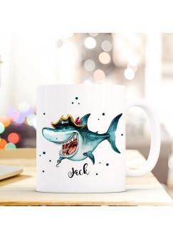 Tasse Becher mit Hai Haifisch Pirat Geschenk mit Tiermotiv Kaffeetasse Haitasse mit Namen Wunschnamen Kaffeebecher ts773