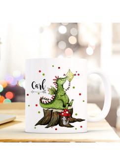 Tasse Becher mit Drache Geschenk mit Tiermotiv Kaffeetasse mit Namen Wunschnamen & Punkte Kaffeebecher ts775