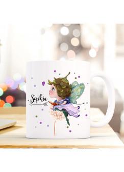 Tasse Becher mit Fee Elfe & Pusteblume Geschenk mit Feenmotiv Kaffeetasse Elfentasse mit Namen Wunschnamen Kaffeebecher ts778