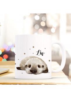 Tasse Becher mit Otter Baby & Punkte Geschenk mit Tiermotiv Kaffeetasse Ottertasse mit Namen Wunschnamen Kaffeebecher ts782