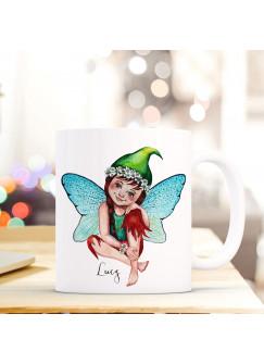 Tasse Becher mit Fee Elfe Geschenk mit Feenmotiv Kaffeetasse Elfentasse mit Namen Wunschnamen Kaffeebecher ts796