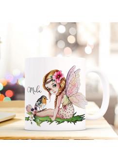 Tasse Becher mit Fee Elfe & Vogel Geschenk mit Feenmotiv Kaffeetasse Elfentasse mit Namen Wunschnamen Kaffeebecher ts797