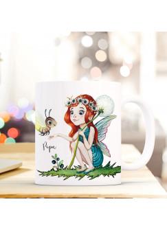 Tasse Becher mit Fee Elfe & Glühwürmchen Geschenk mit Feenmotiv Kaffeetasse Elfentasse mit Namen Wunschnamen Kaffeebecher ts798