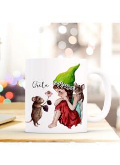 Tasse Becher mit Fee Elfe & Mäuse Geschenk mit Feenmotiv Kaffeetasse Elfentasse mit Namen Wunschnamen Kaffeebecher ts799