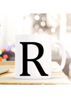 Tasse Becher mit Buchstabe R Geschenk mit Buchstabenmotiv Kaffeetasse Buchstabentasse mit großem R Kaffeebecher ts817