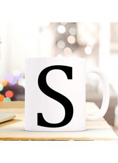 Tasse Becher mit Buchstabe S Geschenk mit Buchstabenmotiv Kaffeetasse Buchstabentasse mit großem S Kaffeebecher ts818