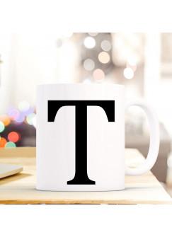Tasse Becher mit Buchstabe T Geschenk mit Buchstabenmotiv Kaffeetasse Buchstabentasse mit großem T Kaffeebecher ts819