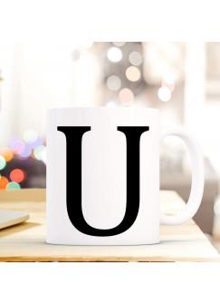 Tasse Becher mit Buchstabe U Geschenk mit Buchstabenmotiv Kaffeetasse Buchstabentasse mit großem U Kaffeebecher ts820