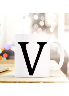 Tasse Becher mit Buchstabe V Geschenk Kaffeetasse Buchstabentasse mit großem V Kaffeebecher ts821