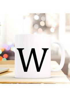 Tasse Becher mit Buchstabe W Geschenk Kaffeetasse Buchstabentasse mit großem W Kaffeebecher ts822