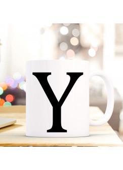 Tasse Becher mit Buchstabe Y Geschenk Kaffeetasse Buchstabentasse mit großem Y Kaffeebecher ts823