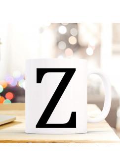 Tasse Becher mit Buchstabe Z Geschenk Kaffeetasse Buchstabentasse mit großem Z Kaffeebecher ts824