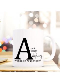 """Tasse Becher mit Buchstabe A und Spruch jedem Anfang"""" Geschenk Kaffeetasse Buchstabentasse mit Spruch Kaffeebecher ts825"""""""
