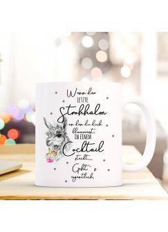 Tasse Becher Lama mit Drink & Spruch Wenn der letzte Strohhalm Kaffeetasse Lamatasse Kaffeebecher ts840