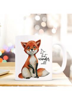 Tasse Becher bedruckt mit Fuchs & Spruch Du bist wundervoll Kaffeetasse Kaffeebecher ts842
