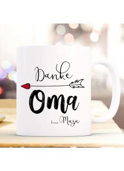 Tasse Becher Kaffeetasse mit Spruch Danke Oma & Wunschnamen Name Geschenk Spruchbecher ts847