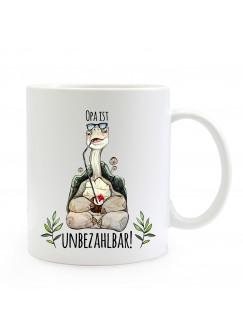 Tasse Becher mit Schildkröte & Spruch Opa ist unbezahlbar Kaffeebecher Geschenk Spruchbecher ts859