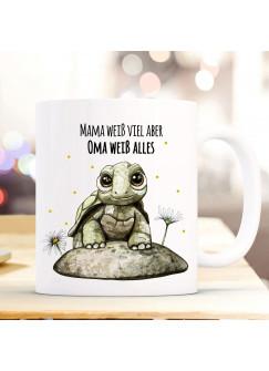 Tasse Becher mit Schildkröte & Spruch Mama weiß viel Oma alles Kaffeebecher Geschenk Spruchbecher ts860