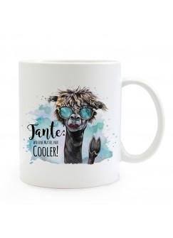 Tasse Becher Lama & Spruch Tante wie Mutter nur cooler Kaffeebecher Geschenk Spruchbecher ts870