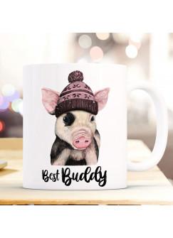 Tasse Becher mit Schweinchen Pudelmütze & Spruch best buddy Motiv Kaffeebecher Geschenk Weihnachten ts884