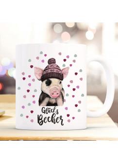 Tasse Becher mit Schweinchen Pudelmütze & Spruch Glücks Becher Motiv Kaffeebecher Geschenk Weihnachten ts888