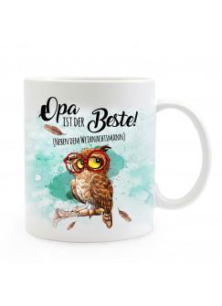 Tasse Becher Eule mit Brille & Spruch Opa ist der Beste Kaffeebecher Geschenk Spruchbecher ts891