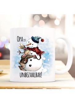 Tasse Becher Hase mit Schneemann & Spruch Opa ist unbezahlbar Kaffeebecher Geschenk Spruchbecher ts892