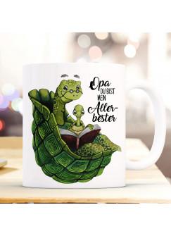 Tasse Becher mit Schildkröte & Spruch Opa du bist mein Allerbester Kaffeebecher Geschenk Spruchbecher ts893
