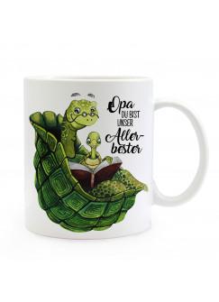 Tasse Becher mit Schildkröte & Spruch Opa du bist unser Allerbester Kaffeebecher Geschenk Spruchbecher ts894