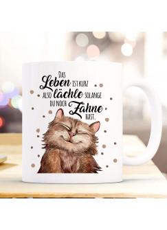 Tasse Becher Motiv mit Katze Kater & Spruch lächle solange du Zähne hast Kaffeebecher Geschenk Spruchbecher ts907