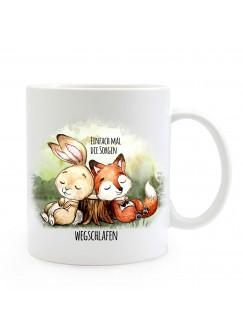 Tasse Becher Motiv Hase & Fuchs Spruch Einfach Sorgen wegschlafen Kaffeebecher Geschenk Spruchbecher ts908