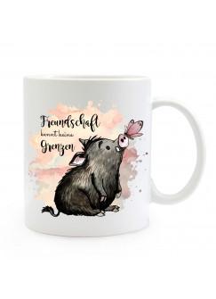 Tasse Becher Motiv Schwein & Schmetterling Spruch Freundschaft Kaffeebecher Geschenk Spruchbecher ts910