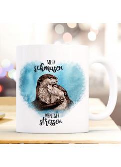 Tasse Becher Motiv mit Otter Pärchen blau Spruch Mehr schmusen weniger stressen Kaffeebecher Geschenk Spruchbecher ts918