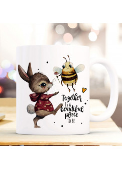 Tasse Becher Motiv Hase & Biene Spruch Together is a beautiful place to be Kaffeebecher Geschenk Spruchbecher ts928