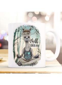 Tasse Becher Motiv Lama Yoga Spruch Chill Lamachen im Wald Kaffeebecher Geschenk Spruchbecher ts936