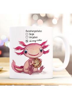 Tasse Becher Motiv Axolotl Spruch Beziehungsstatus: ich mag Kekse Kaffeebecher Geschenk Spruchbecher ts946