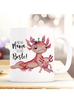 Tasse Becher Motiv Axolotl mit Kinder Spruch Mama ist die Beste Kaffeebecher Geschenk Spruchbecher ts953