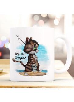 Tasse Becher Kater Katze Kätzchen Angelkatze Angel Spruch Papas kleiner Angler Kaffeebecher Geschenk Spruchbecher ts959