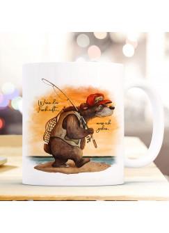 Tasse Becher Kaffeetasse Angeler Bär Angel Spruch Wenn der Fisch ruft Kaffeebecher Geschenk Spruchbecher ts966
